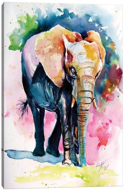 Elephant Alone Canvas Art Print