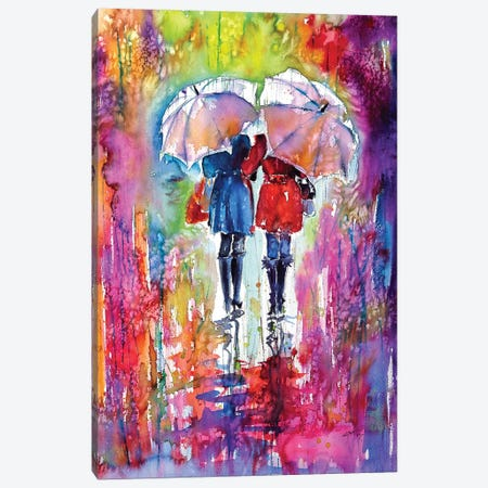 Girlfriends Under Umbrella Canvas Print #AKV39} by Anna Brigitta Kovacs Art Print