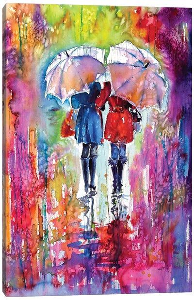 Girlfriends Under Umbrella Canvas Art Print