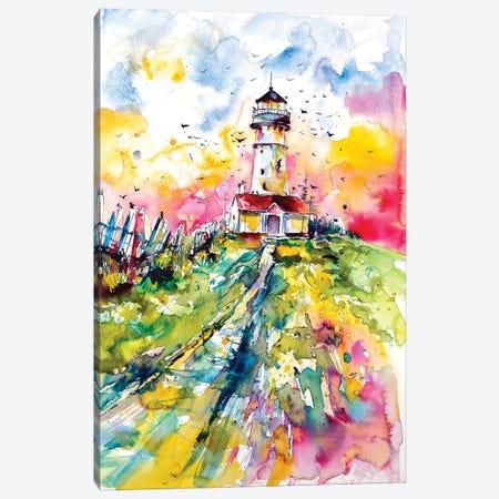 Lighthouse With Birds Canvas Print #AKV45} by Anna Brigitta Kovacs Canvas Print