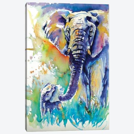 Majestic Elephant With Baby Canvas Print #AKV52} by Anna Brigitta Kovacs Canvas Art Print