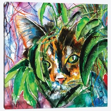 Playing Cat Canvas Print #AKV63} by Anna Brigitta Kovacs Canvas Wall Art