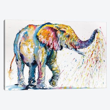 Playing Colorful Elephant Canvas Print #AKV64} by Anna Brigitta Kovacs Art Print