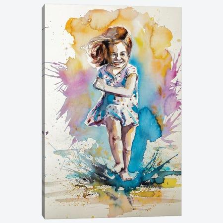 Playing Girl Canvas Print #AKV67} by Anna Brigitta Kovacs Art Print