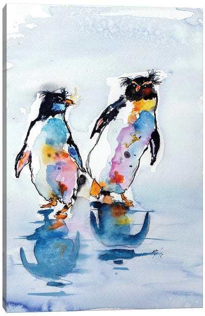 Rockhopper Penguins Canvas Art Print