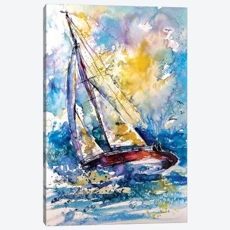 Sailboat In The Wind II Canvas Print #AKV77} by Anna Brigitta Kovacs Canvas Art