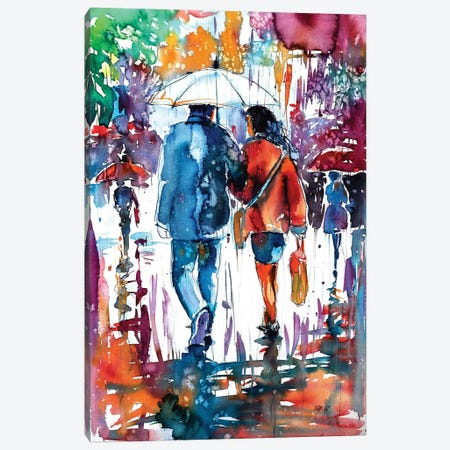 Walk In Rain Canvas Print #AKV89} by Anna Brigitta Kovacs Canvas Art