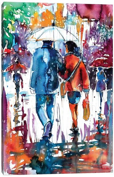 Walk In Rain Canvas Art Print