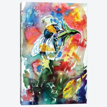 Bee With Flower Canvas Print #AKV8} by Anna Brigitta Kovacs Canvas Art