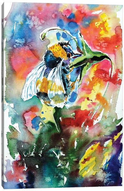 Bee With Flower Canvas Art Print
