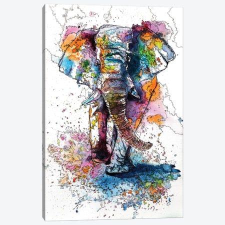 Walking Elephant Canvas Print #AKV90} by Anna Brigitta Kovacs Canvas Art Print
