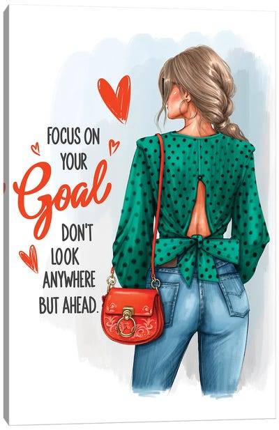 Focus On Your Goal (Blonde Girl) Canvas Art Print