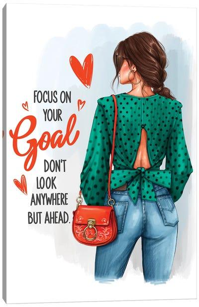 Focus On Your Goal (Brunette Girl) Canvas Art Print