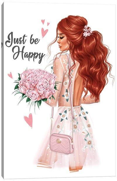 Girl With A Bouquet (Redhead) Canvas Art Print