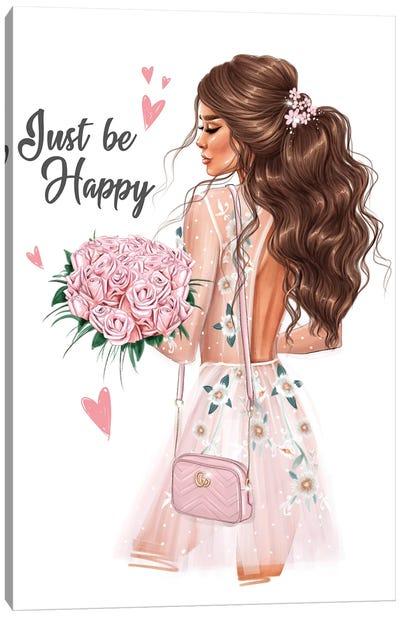 Girl With A Bouquet (Brunette) Canvas Art Print