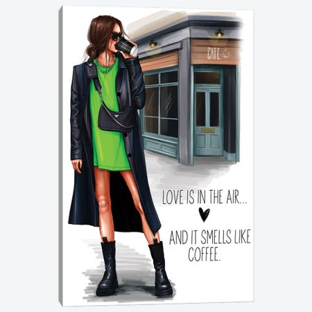 Grunge Girl (Brunette) Canvas Print #AKY23} by Anastasia Kosyanova Canvas Print