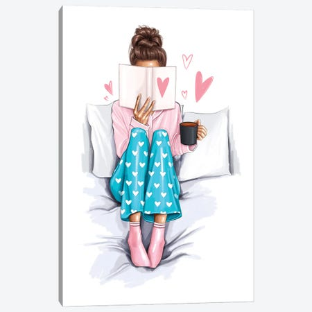 Girl In The Bed Canvas Print #AKY24} by Anastasia Kosyanova Canvas Wall Art