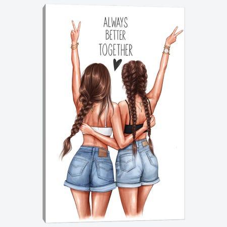 Better Together (Brunettes) Canvas Print #AKY30} by Anastasia Kosyanova Canvas Art