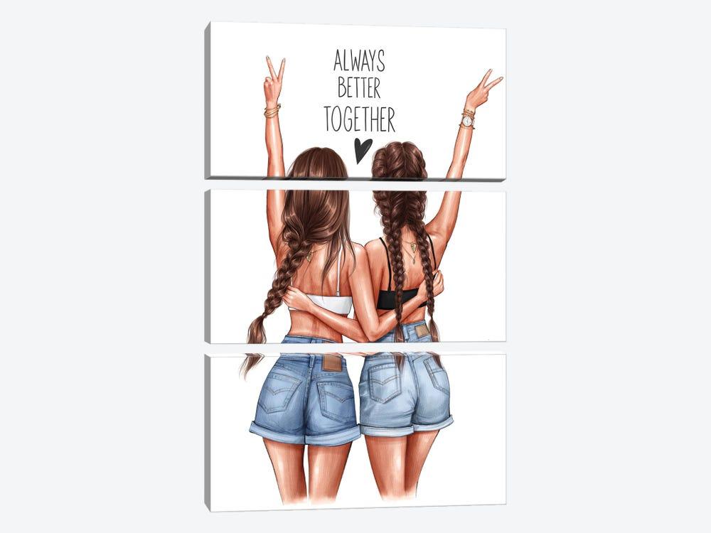 Better Together (Brunettes) by Anastasia Kosyanova 3-piece Canvas Print