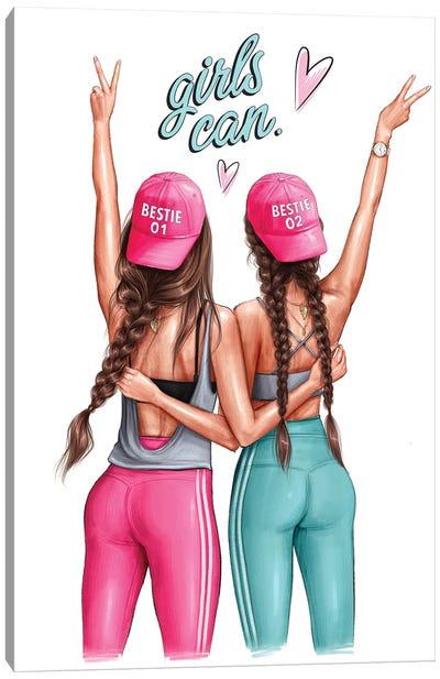 Girls Can (Brunettes) Canvas Art Print