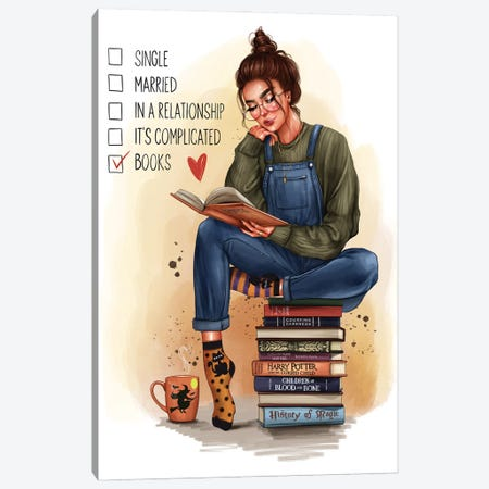 Girl With A Book (Brunette) Canvas Print #AKY39} by Anastasia Kosyanova Canvas Art