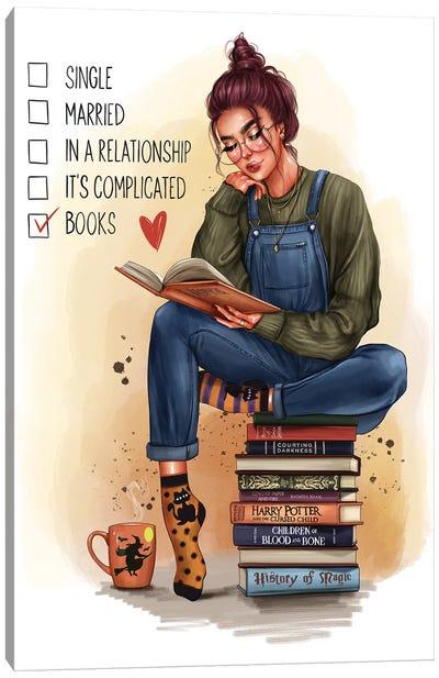 Girl With A Book (Redhead) Canvas Art Print