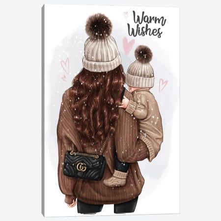 Mom With Baby (Brunette) Canvas Print #AKY49} by Anastasia Kosyanova Canvas Art Print