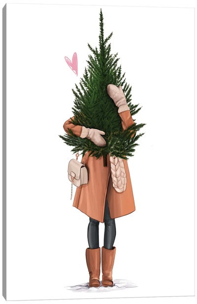 Girl With A Tree Canvas Art Print