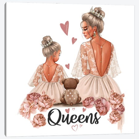 Mom And Daughter Queens (Blondes) Canvas Print #AKY60} by Anastasia Kosyanova Art Print