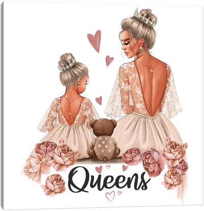 Mom And Daughter Queens (Blondes) Canvas Art Print