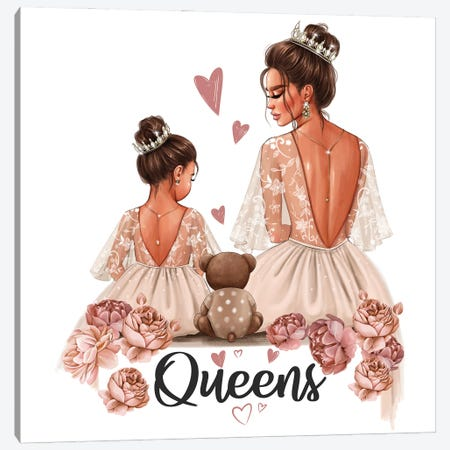 Mom And Daughter Queens (Brunettes) Canvas Print #AKY62} by Anastasia Kosyanova Canvas Art Print