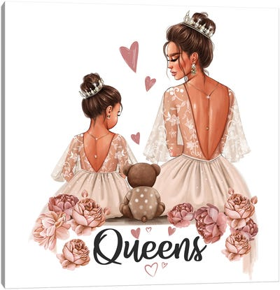 Mom And Daughter Queens (Brunettes) Canvas Art Print