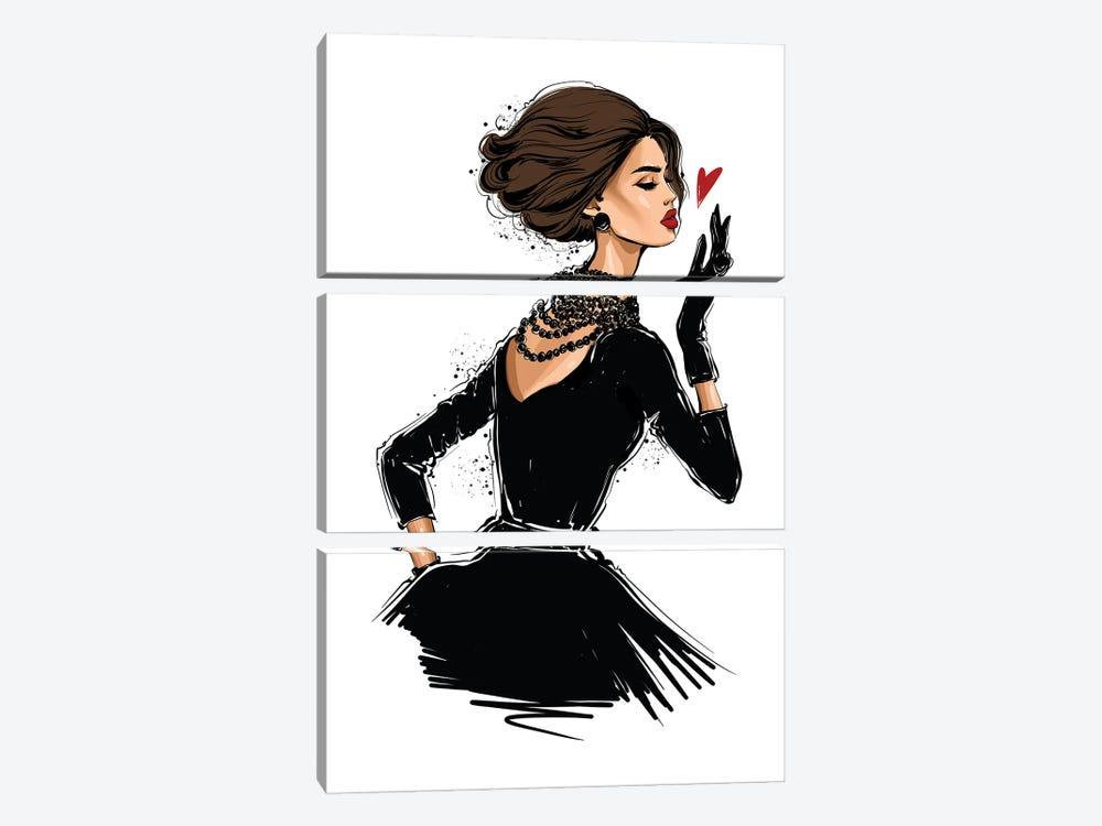 Fashion Girl Blow A Kiss by Anastasia Kosyanova 3-piece Canvas Print