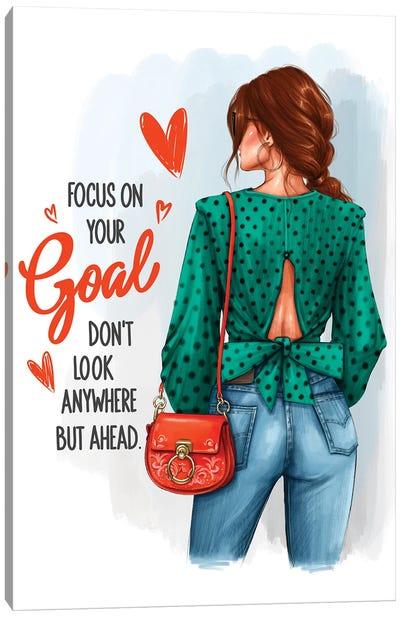 Focus On Your Goal (Redhead Girl) Canvas Art Print
