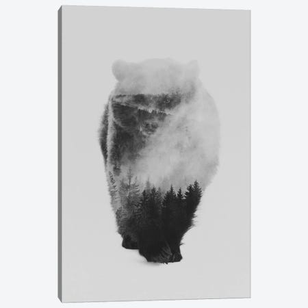 Approaching Bear in B&W Canvas Print #ALE108} by Andreas Lie Canvas Art
