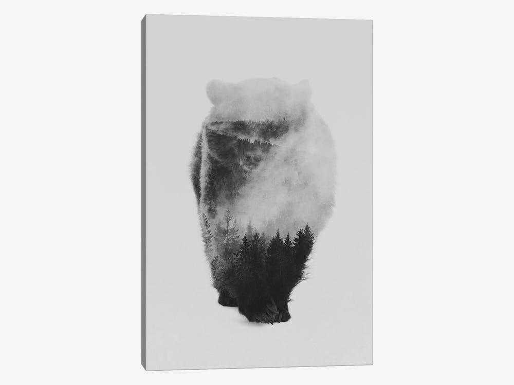 Approaching Bear in B&W by Andreas Lie 1-piece Art Print