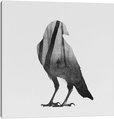 Crow in B&W Canvas Art Print