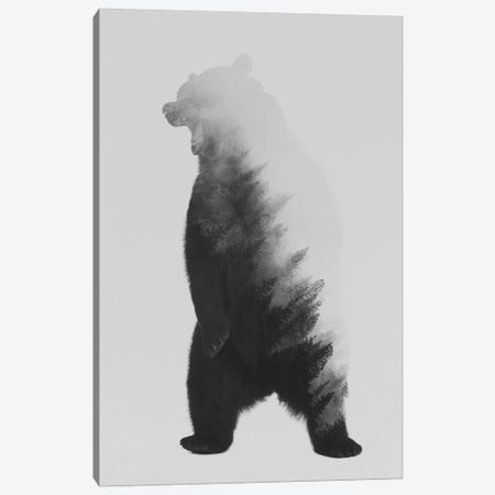 Roaring Bear in B&W Canvas Print #ALE123} by Andreas Lie Canvas Artwork