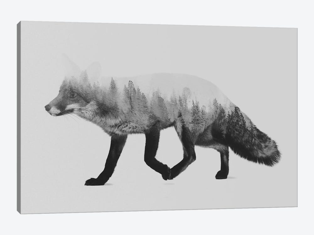 The Fox I in B&W 1-piece Canvas Artwork
