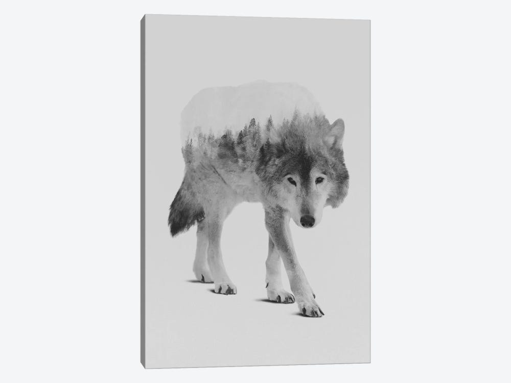 Wolf In The Woods II in B&W by Andreas Lie 1-piece Canvas Art