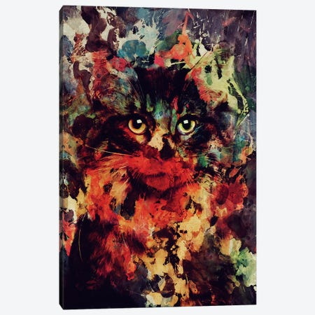 Watercolor Cat Canvas Print #ALE170} by Andreas Lie Art Print