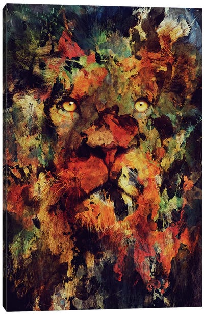 Watercolor Lion Canvas Art Print