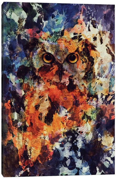 Watercolor Owl Canvas Art Print