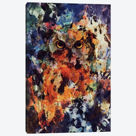 Watercolor Owl Canvas Print #ALE173} by Andreas Lie Canvas Print