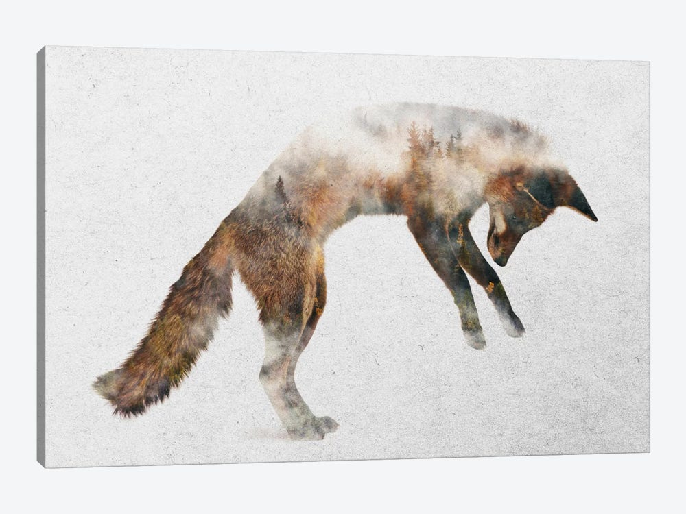 Jumping Fox by Andreas Lie 1-piece Art Print