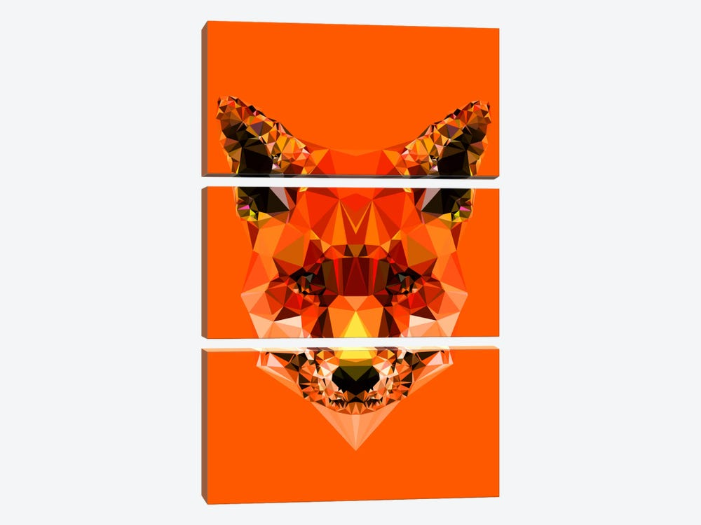 Geometric Fox by Andreas Lie 3-piece Canvas Wall Art