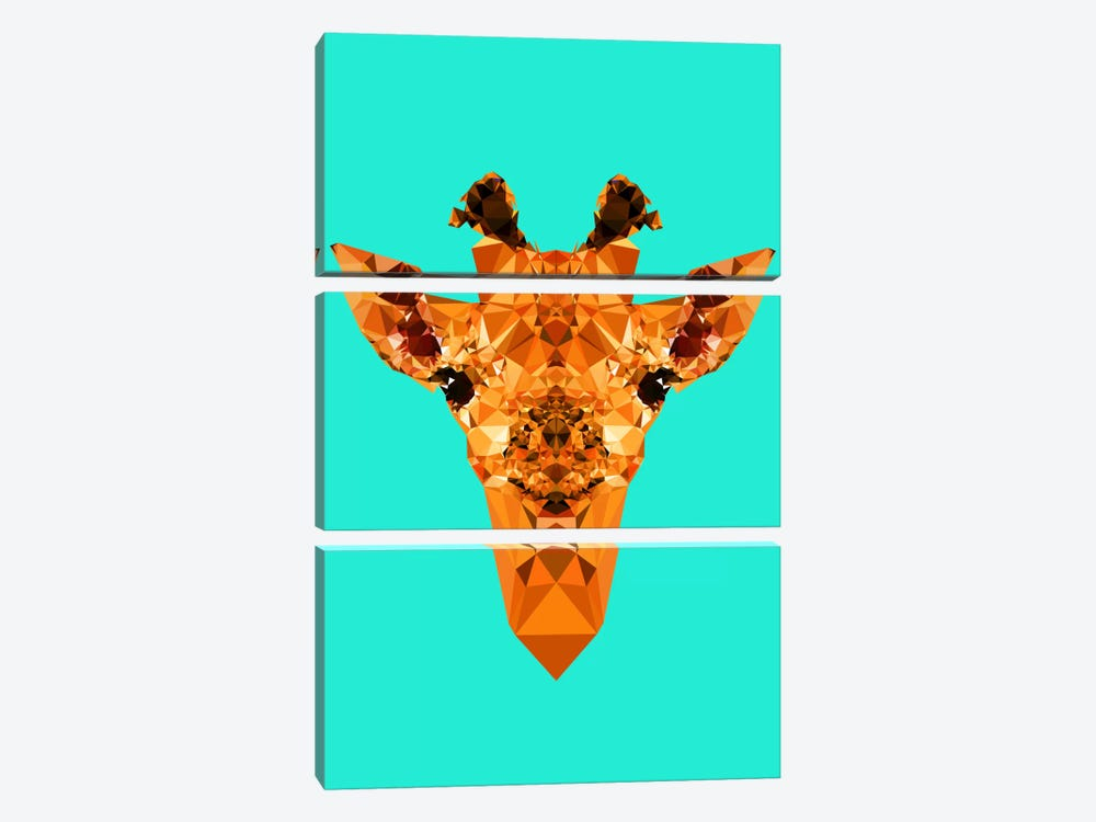 Geometric Giraffe by Andreas Lie 3-piece Canvas Print