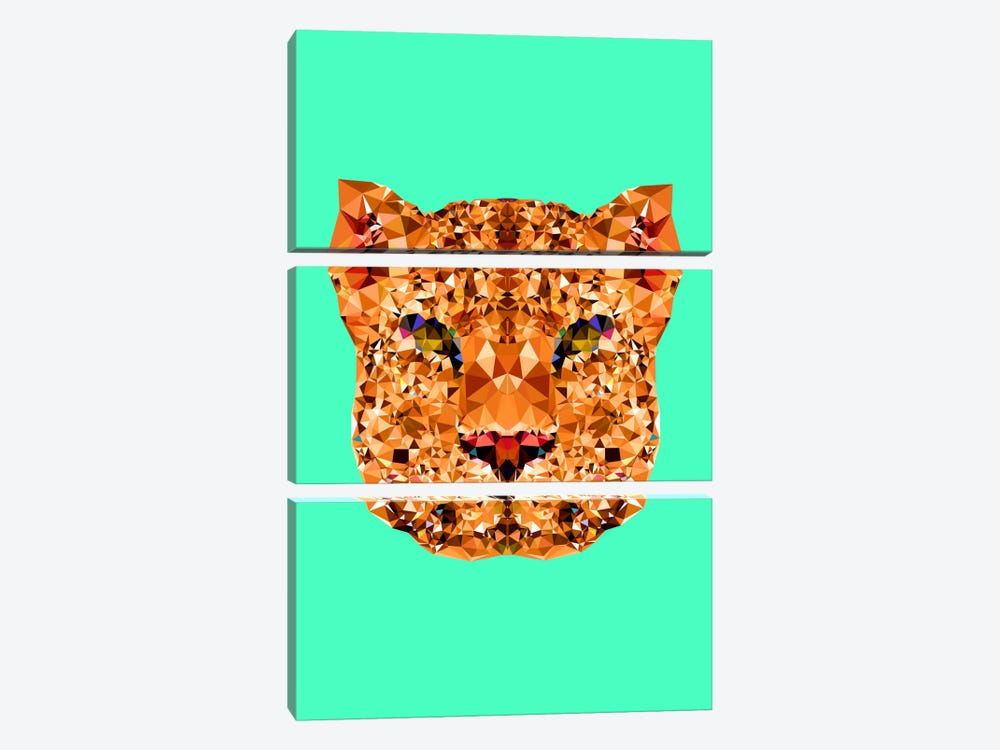 Geometric Leopard by Andreas Lie 3-piece Canvas Print