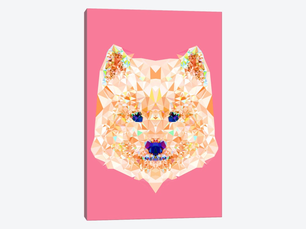 Geometric Samoyed by Andreas Lie 1-piece Canvas Art Print