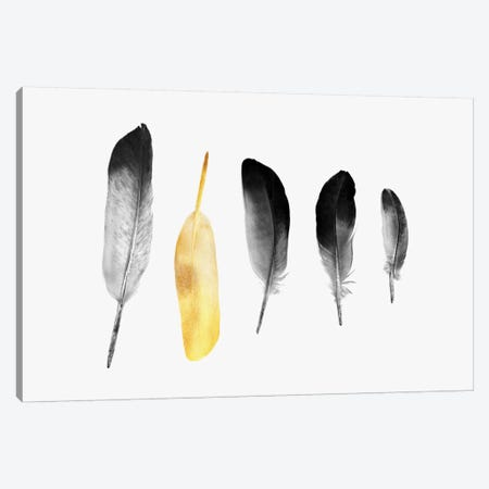 Golden Feather Canvas Print #ALE218} by Andreas Lie Canvas Wall Art